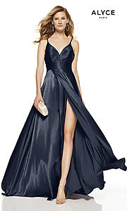 Image of Alyce long v-neck prom dress with slit. Style: AL-60624 Front Image