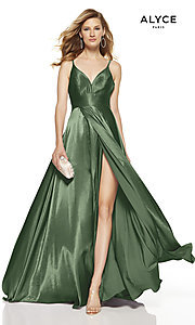 Image of Alyce long v-neck prom dress with slit. Style: AL-60624 Detail Image 6