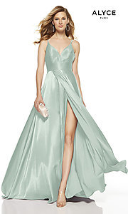 Image of Alyce long v-neck prom dress with slit. Style: AL-60624 Detail Image 7