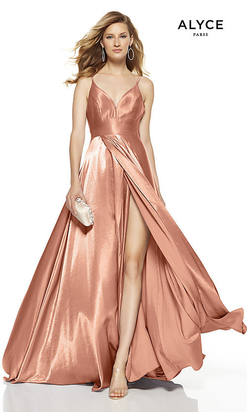 Image of Alyce long v-neck prom dress with slit. Style: AL-60624 Detail Image 2