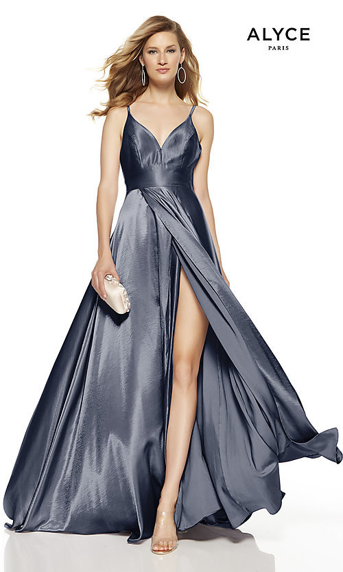 Image of Alyce long v-neck prom dress with slit. Style: AL-60624 Detail Image 3
