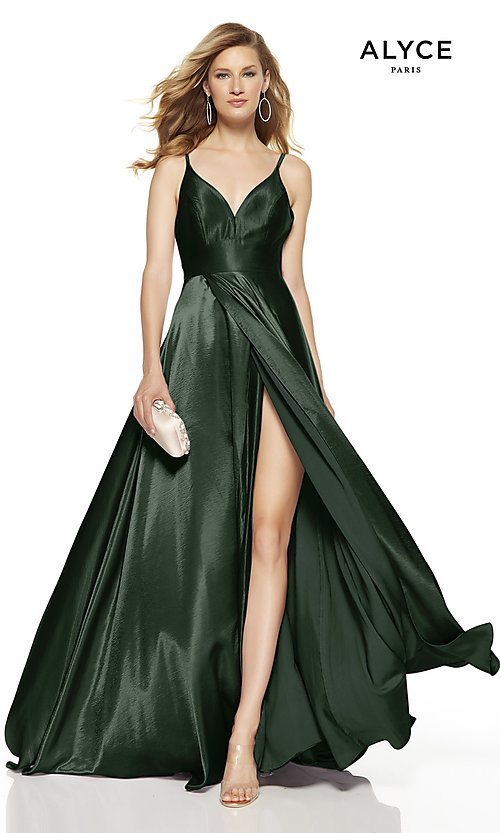 Image of Alyce long v-neck prom dress with slit. Style: AL-60624 Detail Image 5