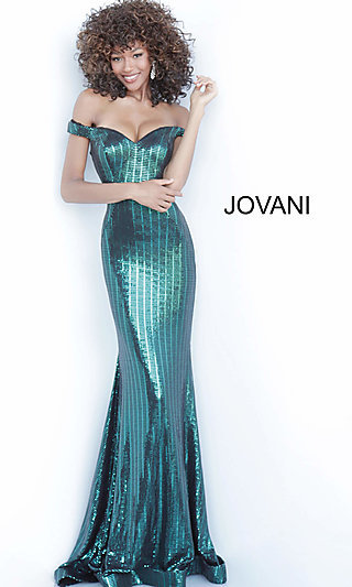 Long Off Shoulder Mermaid Prom Dress by Jovani
