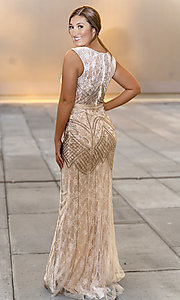 Image of Dave and Johnny long lace prom dress with beading. Style: DJ-A7504 Back Image