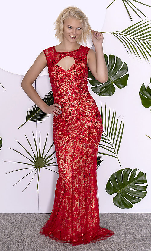 Image of Dave and Johnny long lace prom dress with beading. Style: DJ-A7504 Detail Image 1