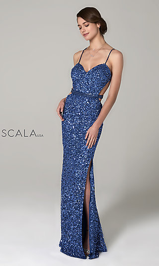 Long Sweetheart Sequin Scala Prom Dress with Beading