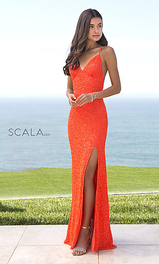 Scala Sequin Long Formal Prom Dress with Open Back