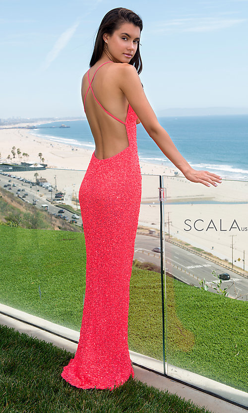 Image of Scala sequin long formal prom dress with open back. Style: Scala-60141 Detail Image 1