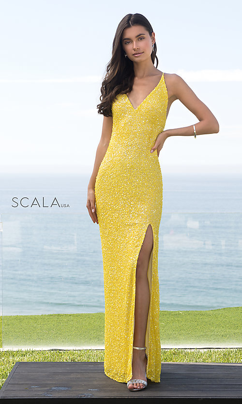Image of Scala sequin long formal prom dress with open back. Style: Scala-60141 Detail Image 4