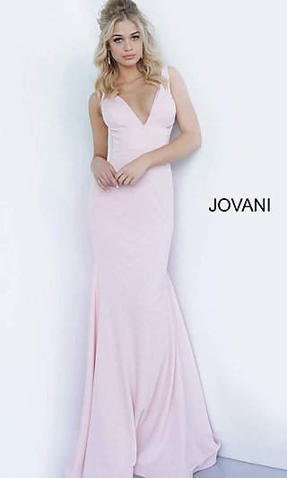 Form-Fitting Deep V-Neck Long Prom Dress by Jovani