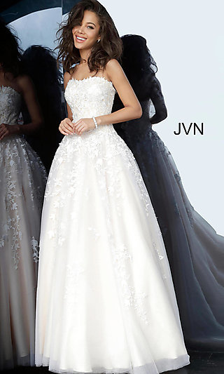 Strapless Long A-Line Prom Dress with Embroidery