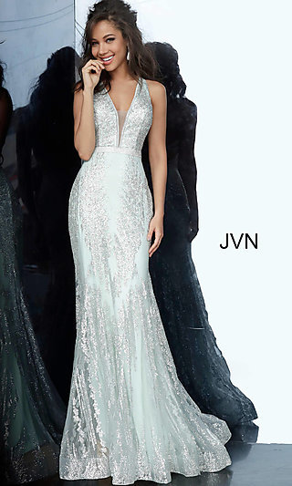 Glitter Embellished V-Neck JVN by Jovani Prom Dress