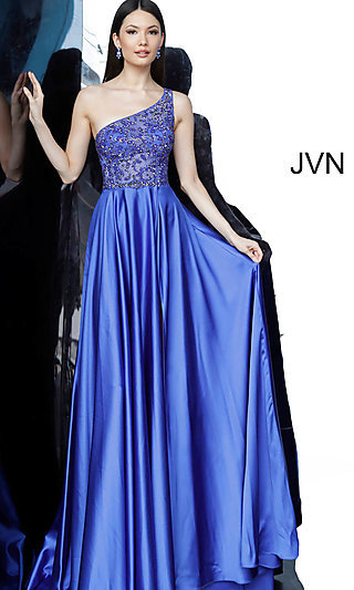 Long One-Shoulder Royal Blue Prom Dress