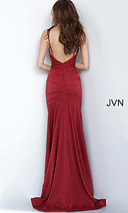 Image of burgundy red v-neck prom dress from JVN by Jovani. Style: JO-JVN-JVN00967 Back Image