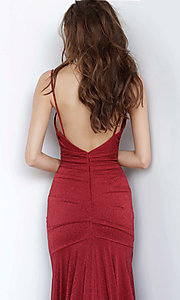 Image of burgundy red v-neck prom dress from JVN by Jovani. Style: JO-JVN-JVN00967 Detail Image 2