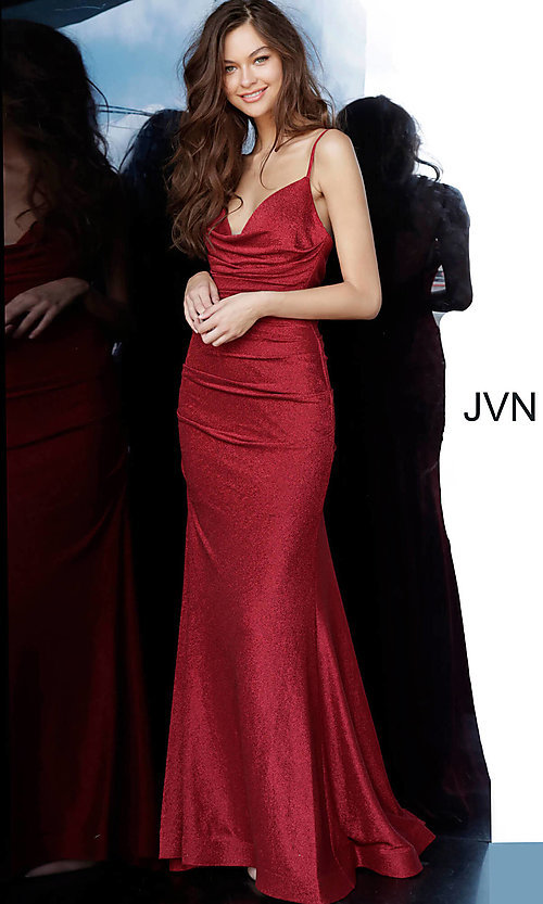 Image of burgundy red v-neck prom dress from JVN by Jovani. Style: JO-JVN-JVN00967 Front Image