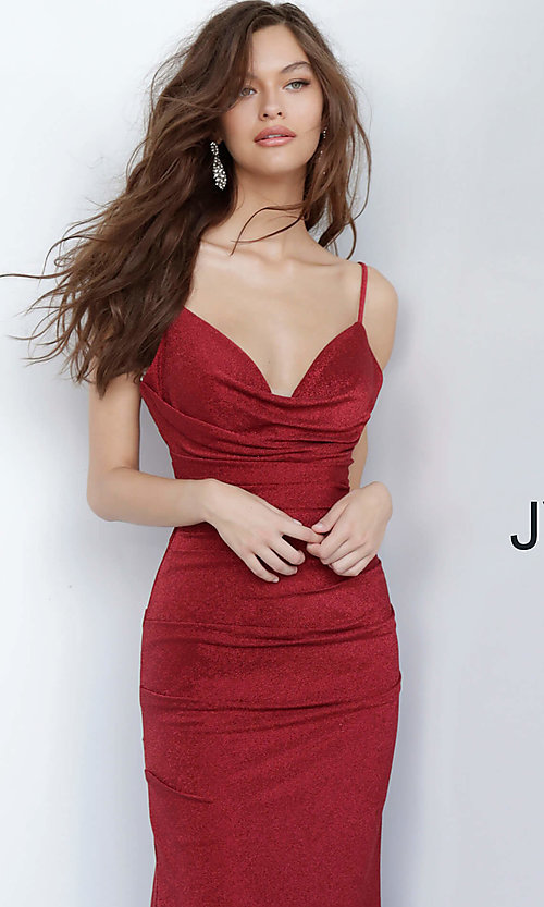 Image of burgundy red v-neck prom dress from JVN by Jovani. Style: JO-JVN-JVN00967 Detail Image 1
