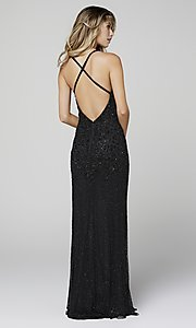 Image of long beaded Primavera formal prom dress with slit. Style: PV-3404 Back Image
