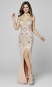 Image of long beaded Primavera formal prom dress with slit. Style: PV-3404 Detail Image 2