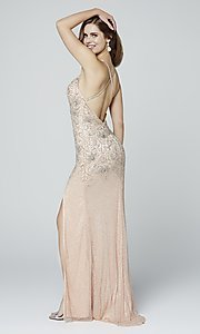 Image of long beaded Primavera formal prom dress with slit. Style: PV-3404 Detail Image 3