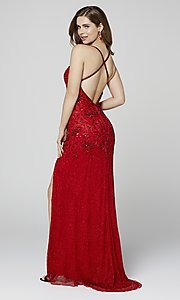 Image of long beaded Primavera formal prom dress with slit. Style: PV-3404 Detail Image 6