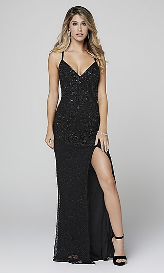 Long Beaded Primavera Formal Prom Dress with Slit