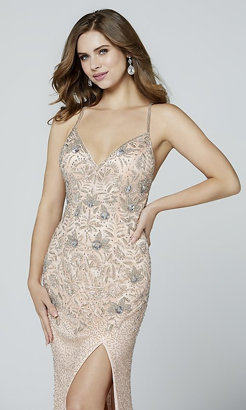 Image of long beaded Primavera formal prom dress with slit. Style: PV-3404 Detail Image 4