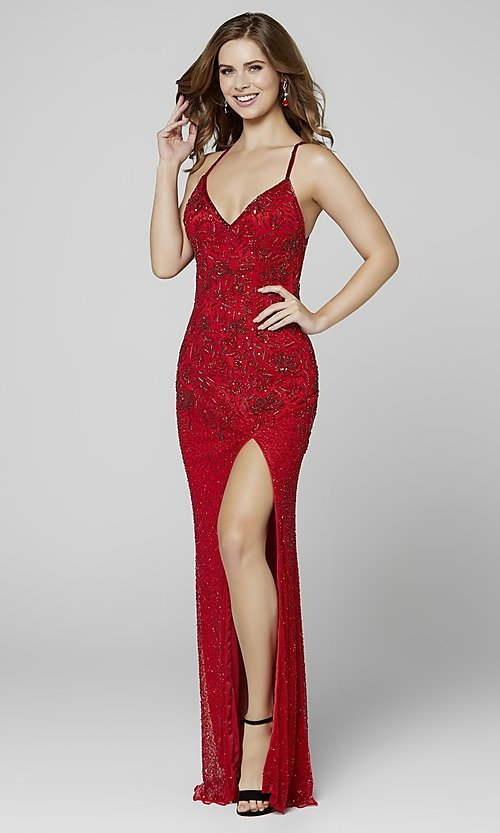 Image of long beaded Primavera formal prom dress with slit. Style: PV-3404 Detail Image 5