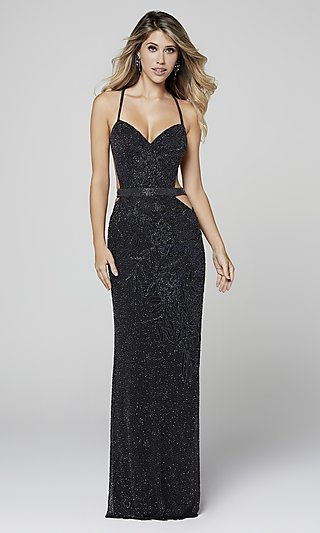 Long Beaded Prom Dress with Side Cut-Outs