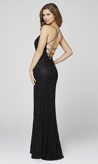 Long Beaded Scoop-Neck Prom Dress by Primavera