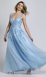 Image of Dave and Johnny ice blue prom ball gown. Style: DJ-A8600 Front Image