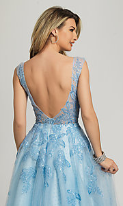 Image of Dave and Johnny ice blue prom ball gown. Style: DJ-A8600 Detail Image 2