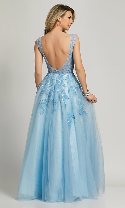 Image of Dave and Johnny ice blue prom ball gown. Style: DJ-A8600 Back Image