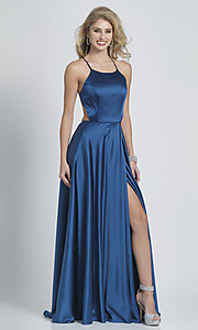 Image of faux-wrap open-back teal blue prom dress.  Style: DJ-A8603 Back Image