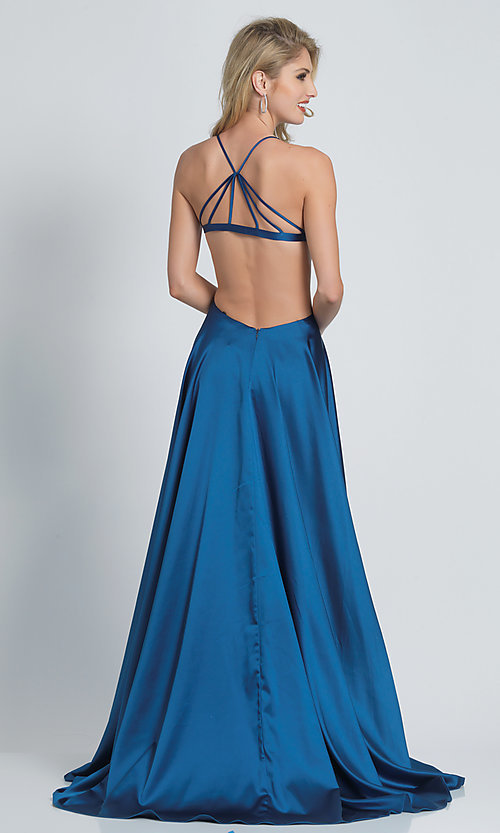 Image of faux-wrap open-back teal blue prom dress.  Style: DJ-A8603 Front Image