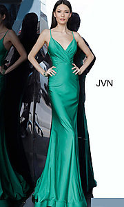 Image of long hunter green JVN by Jovani formal prom dress. Style: JO-JVN-JVN00904 Front Image