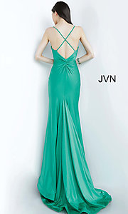 Image of long hunter green JVN by Jovani formal prom dress. Style: JO-JVN-JVN00904 Back Image