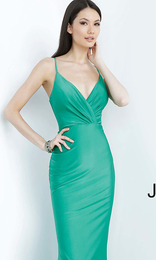 Image of long hunter green JVN by Jovani formal prom dress. Style: JO-JVN-JVN00904 Detail Image 1