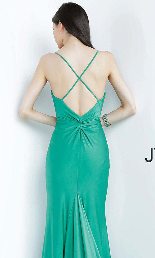 Image of long hunter green JVN by Jovani formal prom dress. Style: JO-JVN-JVN00904 Detail Image 2