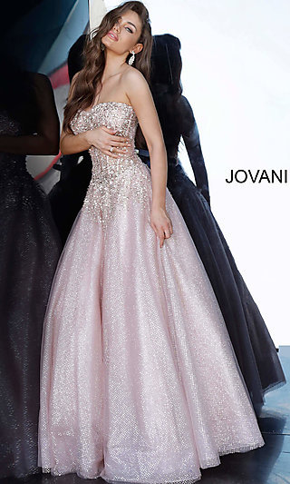 Long Pink Glitter Prom Ballgown with Beading