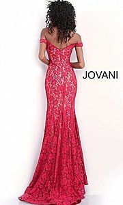 Image of Jovani beaded-lace off-the-shoulder prom dress. Style: JO-67304 Detail Image 4