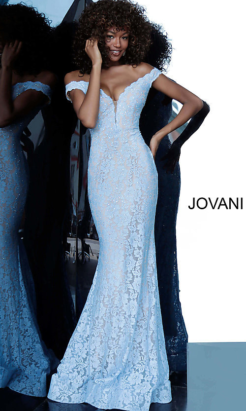 Image of Jovani beaded-lace off-the-shoulder prom dress. Style: JO-67304 Front Image