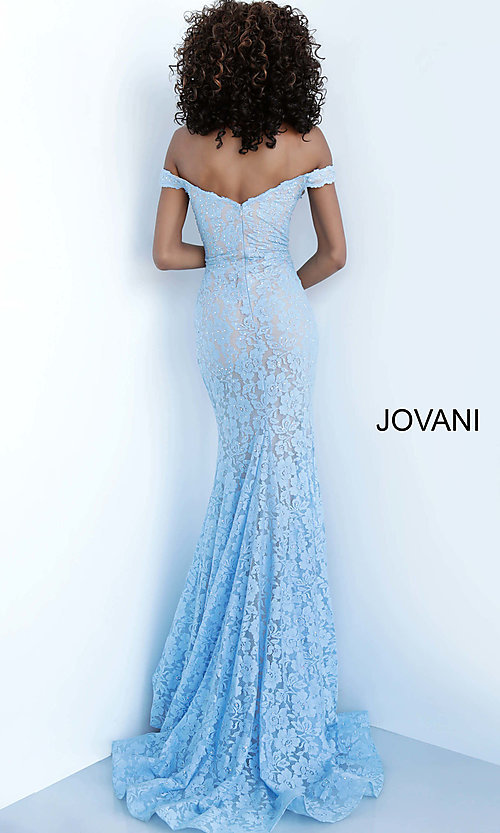 Image of Jovani beaded-lace off-the-shoulder prom dress. Style: JO-67304 Back Image