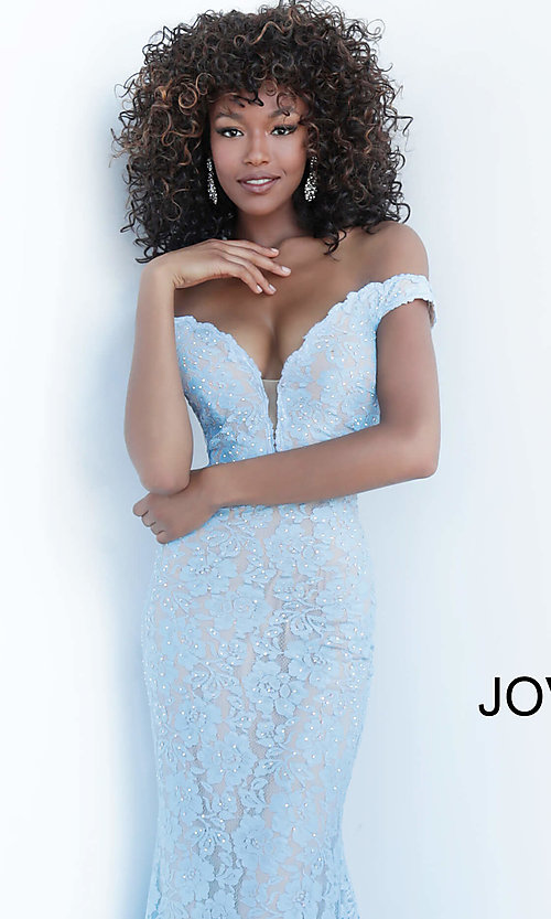 Image of Jovani beaded-lace off-the-shoulder prom dress. Style: JO-67304 Detail Image 1