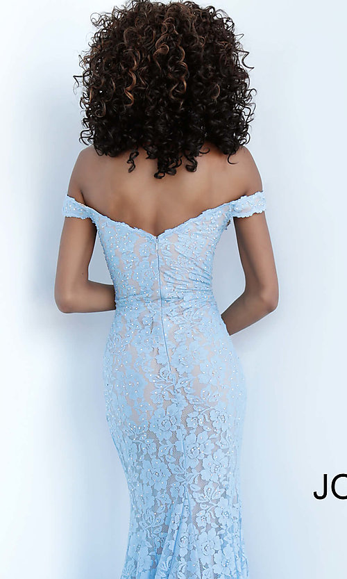 Image of Jovani beaded-lace off-the-shoulder prom dress. Style: JO-67304 Detail Image 2