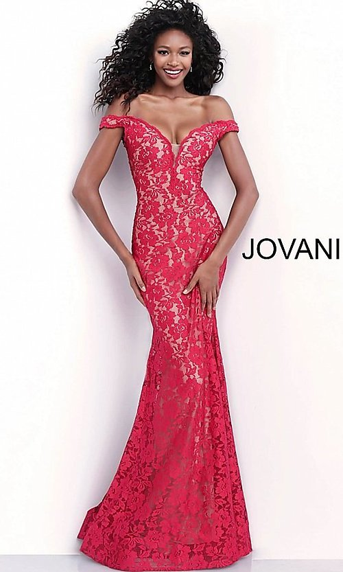 Image of Jovani beaded-lace off-the-shoulder prom dress. Style: JO-67304 Detail Image 3