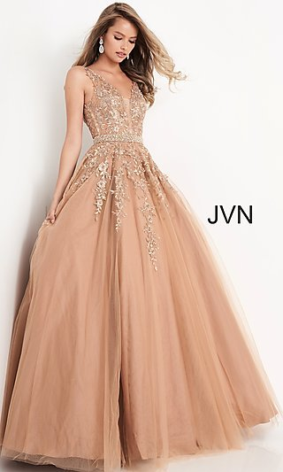 Long Embroidered Ballgown-Style Prom Dress