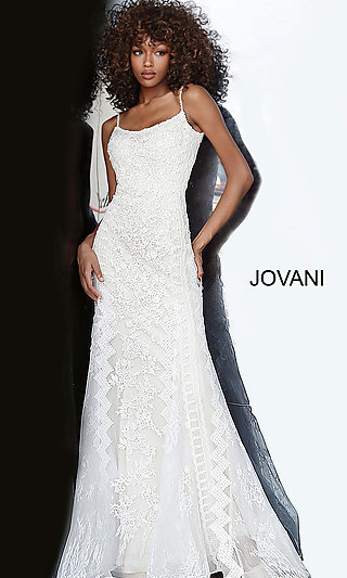 Long Embroidered Lace Prom Dress by Jovani