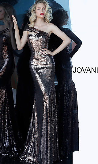 Long One-Shoulder Sequin Jovani Prom Dress