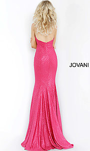Image of Jovani long strapless sparkly formal prom dress. Style: JO-1121 Back Image